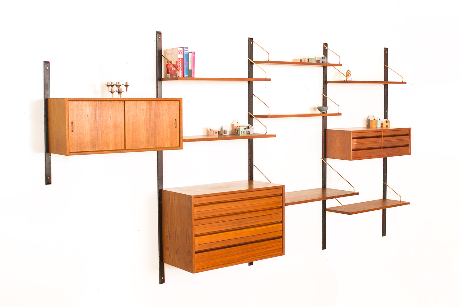 We Have Another Nice Vintage Teak Wall Unit From The Sixties With Three  Cabinets And Seven Shelves In Several Sizes, Designed By Poul Cadovius For  Royal ...